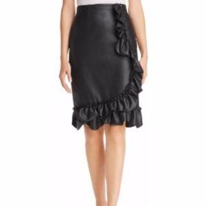 Rebecca Taylor Vegan Leather Ruffle Skirt NWT!